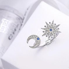 Real Pure 925 Sterling Silver Zircon Moon Star Wedding Rings for Women Adjustable Size Ring Fashion Sterling Silver Jewelry