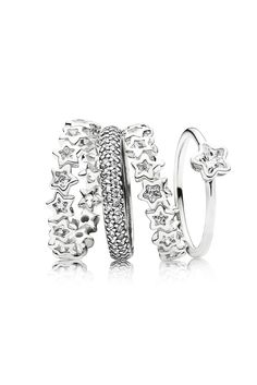 Create your own little piece of heaven with a sparkling starry ring stack. #PANDORA #PANDORAring