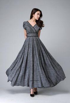 Grijze maxi jurk, empire taille jurk, tuin partij jurk, romantische womens jurken, linnen kleding, vloer lengte jurk, op maat gemaakte jurk 1492