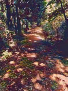 Path into the forest Pinterest Co, Paths, Woods, Artsy, Painting, Painting Art, Paintings, Forests, Drawings