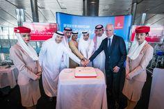 Adil Al Ghaith, IoannisMetsovitis and senior officials cut the cake