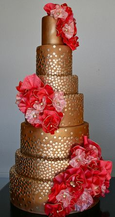 Glamorous gold-sequin wedding cake created by owner/cake designer Kristen of Gimme Some Sugar in Henderson, Nevada....