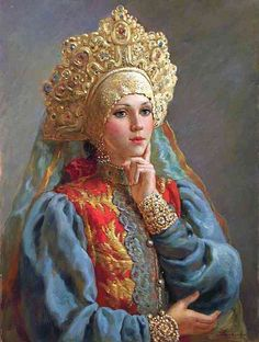 Buy online, view images and see past prices for Nagornov Vladislav - Rêve d'une Princesse - - Huile sur toile. Invaluable is the world's largest marketplace for art, antiques, and collectibles. Classic Art, Art Painting, Folk Art, Historical Painting, Russian Art, Fantasy Art, Russian Folk Art, Art, Art History