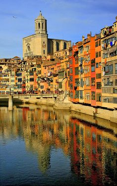 One of the most historic sites in Spain ~ Girona lies northeast of Calatonia, at the confluence of the rivers Ter, Onyar, Galligants, and Guell