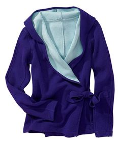 Title Nine Midnight Blue & Robins Egg Wrap-It-Up Wool-Blend Hoodie » This looks warm and soft!