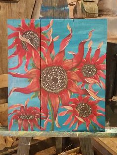 Red sun flowers art by Stacie Sheets