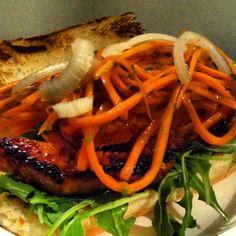 """Pork """"Banh Mi"""".  Carrot, jalapeño, ginger slaw."""