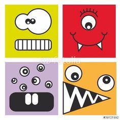 Vector: Pegatinas de divertidos monstruos
