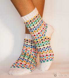 Ravelry: Girly Feeling Socks pattern by Dolly Laishram Knit Mittens, Knitting Socks, Knit Socks, Patterned Socks, Fashion Socks, Cool Socks, Sock Shoes, Knitting Projects, Knit Crochet