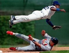 I choose this picture because I love baseball and I thought this picture is funny. Baseball players can fly!