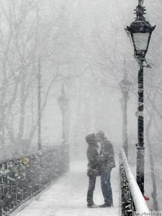 Love this. Perfect winter engagement pic. Sunshine during the day and snow at the end :)