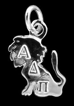 Alpha Delta Pi Silver Lettered Lion Charm