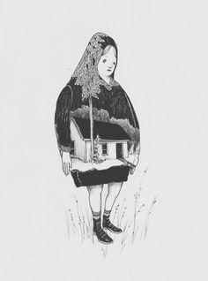 Woman/house illustration