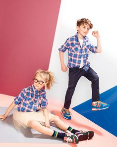 J.Crew boys' twill shirt in camp plaid, slim slouchy cargo pant, and girls' tulle skirt.