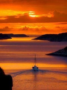 Golden Sunset in Santorini, Greece