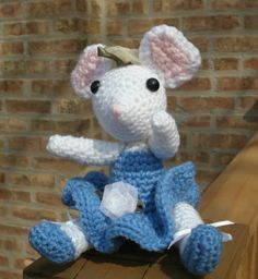 Amigurumi Toy - Stuff Mouse Mellie in Blue/Mouse/Mouse Ballerina/Crochet Mouse