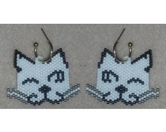 Cat Faces Earrings-Winking - These earrings match my Cat Faces Bracelet.