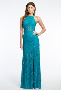 Sequin Lace Illusion Dress with Side Slit #camillelavie