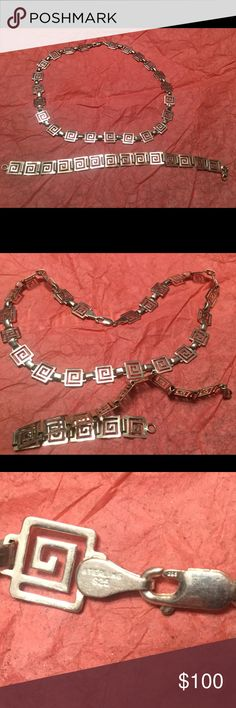 Sterling silver Greek key Necklace 🎉Firm Price‼️🎉⚔️💯Authentic⚔️ Beautiful Sterling Silver Handmade Stamped Greek key necklace Purchased it Many years ago at The Greek festival in Charlotte NC. Worn twice Excellent Condition. Matching Bracelet sold separately in another listing Greek Jewelry Necklaces