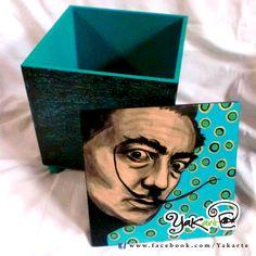 Salvador Dalí Caja Mágica Pintada a Mano www.facebok.com/Yakarte