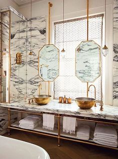 Brass is back in a big way, and marble, of course, never left. Combine the two materials, and you've got interiors that are somehow both minimalist and glam, a little bit retro and totally chic.