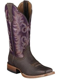 "Women's Western Ariat Boots Ariat Cowboy Boots with cutting edge of footwear technology. Talk about a horse of a different color. Ariat Boots offer the most advanced footwear for the western cowboy. - 11"" Purple Dazzle Full Grain Leather Shaft - Yuma Brown Bison Foot - 8 Row Stitched Pattern - Leather Lined - Resoleable, Goodyear Leather Welt Construction - Durable 11-Iron Butyl Leather Outsole - Provides Maximum Durability and Flexibility - Wide Square Toe - 10004807 Ariat Women's Latigo…"