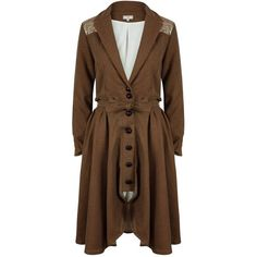 A - M M - E - Light Weight Camel & Gold Riding Coat ($545) ❤ liked on Polyvore featuring outerwear and coats