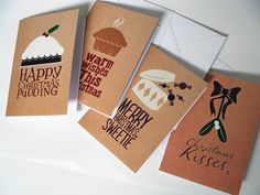 #christmas #cards #handmade #natural #type #design #illustration  Available here (http://www.etsy.com/listing/81898379/set-of-4-natural-coloured-christmas) use the coupon code JBDXMAS10 you will receive 10% off your purchase.