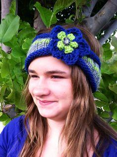Seattle Seahawks Football Knit Headband by HandyHatsandThings, $11.00