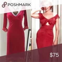 ❤️HOLD FOR V❤️Betsey Johnson💋Marilyn Monroe Dress Oh La La! ❤️ Super sexy, curve hugging 50s pinup style cranberry red velvet dress! Reminds me of something Marilyn Monroe would wear! 💋Beautiful deep plunge neckline and chiffon trimmed sleeves and hem. I wish this fit me, but it's too large in the bust on me. Would look amazing on a curvier girl! Vintage 90s Betsey Johnson dress and in excellent condition! ❤️💋 Betsey Johnson Dresses