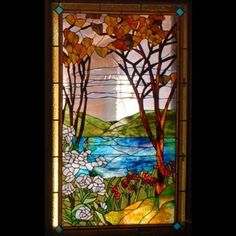 stained glass panel, home decor, autumn leaves, window treatment, stained glass window. $1,350.00, via Etsy.