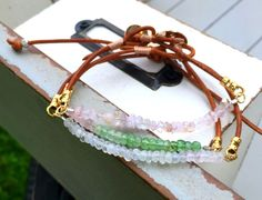 Set of Three Simple Gemstone stack bracelets: Watermelon tourmaline, Rainbow Moonstone, and Rose Quartz, Leather and gemstone