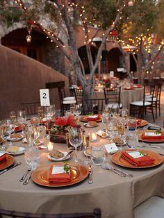 simplistic tablescape using colors of succulent centerpiece
