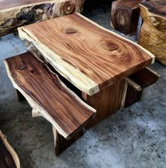 Excited to share this item from my shop: Live Edge Dining Table and Two Bench Set Reclaimed Golden Acacia Wood Solid Slab (Live Edge Shape) 120 cm Length Wood Slab Table, Wood Table Design, Wooden Tables, Bench Set, Woodworking Furniture Plans, Into The Woods, Acacia Wood, Furniture Design, Unique Wood Furniture