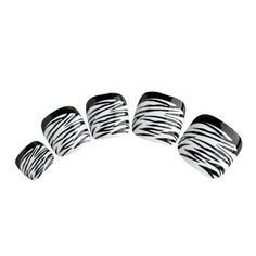 Nadeco Artificial Toe Nails With Handle,Zebra Stripe,Black French Style,24 Nails Covers 12 Sizes * More info could be found at the image url.