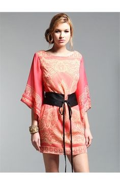 simple kimono dress - but i love the coral and pale yellow together