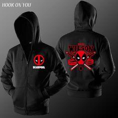 2017 New Arrival Men Fleece Comic Superhero Deadpool Design Zipper Cardigan Hoodie Cool Homme Sweatshirt Trend Cool Hipster Coat #Affiliate