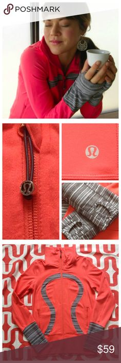Lululemon In Stride Jacket Flush/Strata Stripe. Great preloved condition. Secured zippered pockets. Double zip front. High collar. Thumbholes. No trades. No PayPal. lululemon athletica Jackets & Coats