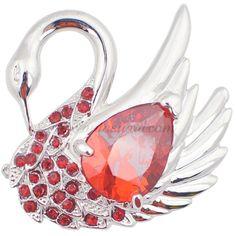 Ruby Red Swan Brooch