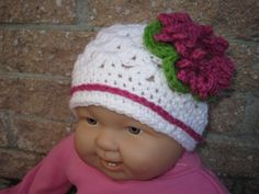 Hat PINK IN SNOW Crochet  for Babies Head Size 16 by ElsaLAbbe