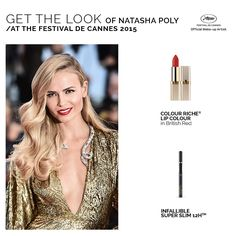 Red hot lips & winged liner for Natasha Poly at the Festival de Cannes 2015. Here's how to re-create her look.