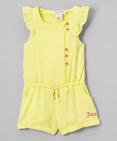 Juicy Couture Yellow Angel-Sleeve Romper - Infant, Toddler & Girls | zulily