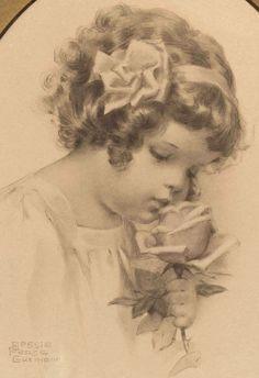 """Bessie Pease Gutmann Original Print """"Smelling"""" - 1909"""