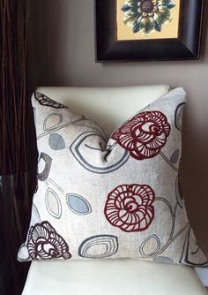 Red Floral Throw Pillow, Decorative Pillows, Boho Pillow Covers 24 X 24,  Cushion Covers, Home Living, Housewares Decor, Pillows For Couch