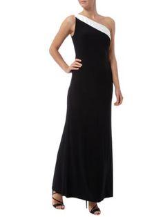 LAUREN RALPH LAUREN Abendkleid mit Besatz aus Seide in Schwarz   FASHION ID Online Shop
