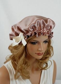 100 Silk Sleep Bonnet Wild Rose Charmeuse Fully by AdorabellaBaby