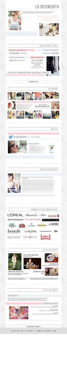 Media Kit Design for Lo Bosworth by Lix Hewett Design