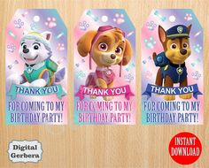 Thank you cards Paw Patrol Favor tags by DazzlingPrintables