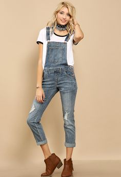 Distressed Denim Overall $28.99