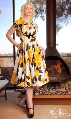 Evelyn Dress in Yellow and Black Vintage Floral Print by Pinup Couture